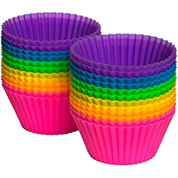 Pantry Elements Silicone Cupcake Liners / Baking Cups, 24-Pack Vibrant Muffin Molds in Storage Jar
