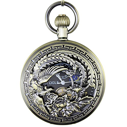 OGLE Waterproof Bronze Phoenix Black Tourbillon Phases Moon Chain Fob Automatic Mechanical Pocket ()