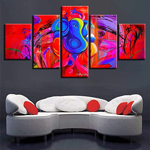 Yyjyxd Canvas Pictures Home Decor Framework 5 Pieces Ganesha Painting HD Prints Red and Blue Abstract Elephant Head God Poster Wall Art-16x24/32/40inch,Without Frame]()
