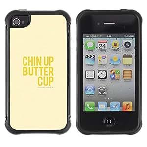 Híbridos estuche rígido plástico de protección con soporte para el Apple iPhone 4 / 4S - upbeat happy positive yellow text
