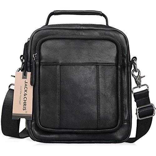 Jack&Chris Mens Genuine Leather Messenger Crossbody Bag Sling Bag Small Bag (MB103C)