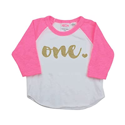 1st Birthday Girl Outfit, One Year Old Pink Raglan Birthday Shirt (6-12 Months)