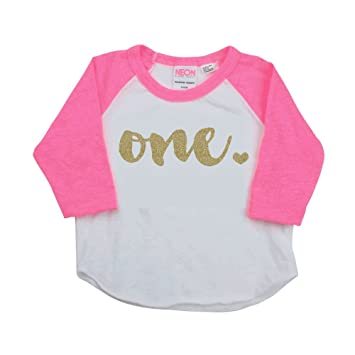 1st Birthday Girl Outfit One Year Old Pink Raglan Shirt 12 18 Months