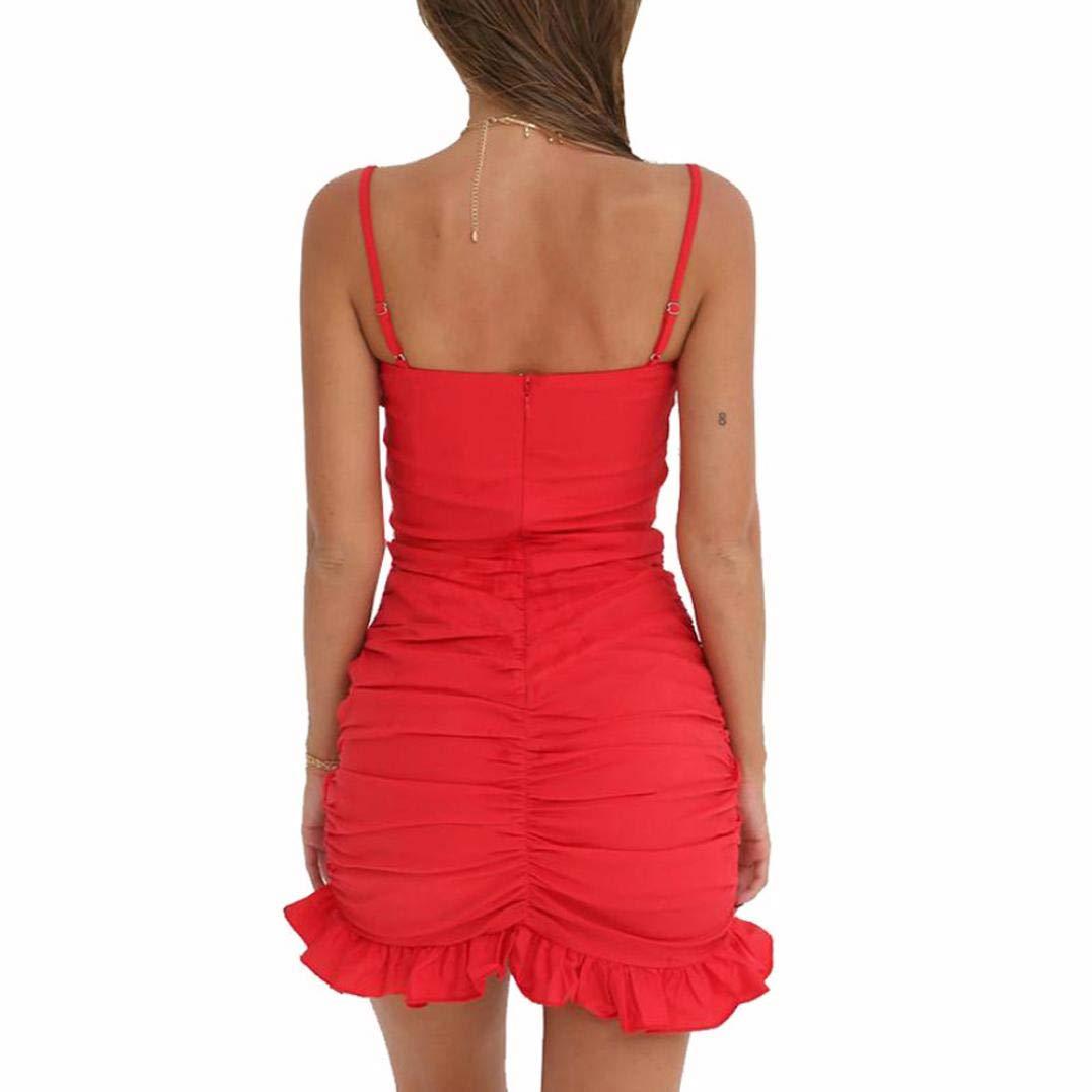 VJGOAL Vestido Corto sin Tirantes Atractivo sin Tirantes del Coctel Rojo sin Mangas de Las Mujeres Mini: Amazon.es: Ropa y accesorios