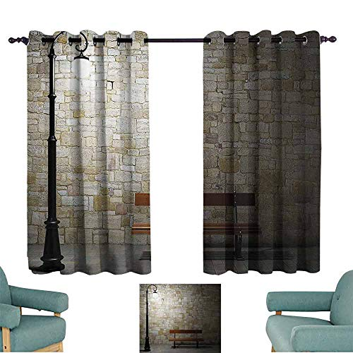 DILITECK Printed Curtain Street Decor Modern Avenue at Dark Night with a Open Lamp and Bench and Stone Wall Behind Image Blackout Draperies for Bedroom Living Room W63 xL72 Multi ()