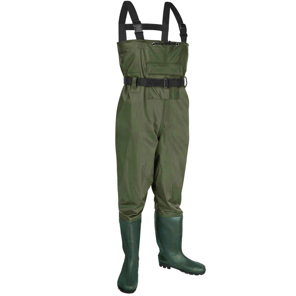 MUYUE Chest Waders Lightweight Fishing Hunting Waders Nylon PVC Waterproof Bootfoot Wader Cleated Breathable for Men Women Army Green