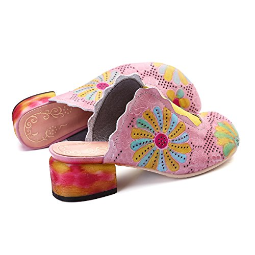 gracosy Women's Leather Slipper Slip on Sandals Block Heel Mule Shoes Ladies Summer Outdoor Flat Sandals Vintage Colorful Flower Backless Loafer Shoes Garden Clogs House Slippers Pink hZQ0G