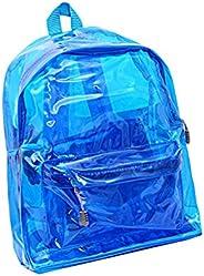 Mochila transparente ajustável LUOEM para meninos e meninas (azul)