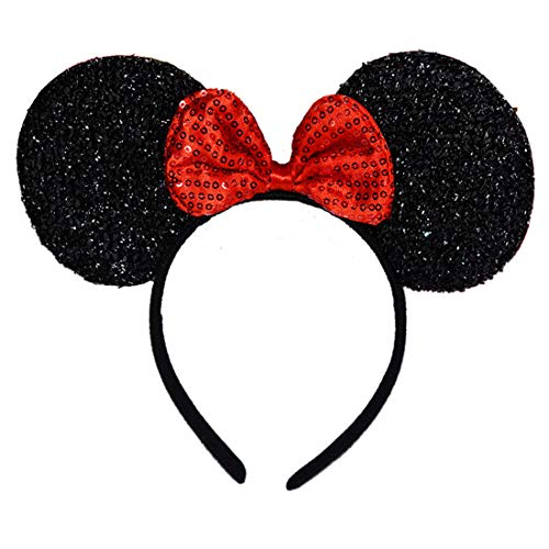 NiuZaiz 1pc Mickey Minnie Mouse Ears Black Glitter Ears with Red Sequin Bow Headband Party Decorations (Black Sequin Red)