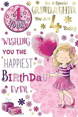 Nieta 4th Tarjeta de cumpleaños y placa - 4 hoy Girl ...