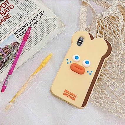 Niziu 愛用 ブランチブラザー 可愛い パン型 iPhoneケース スマホケース (iPhoneXS MAX, 茶色)
