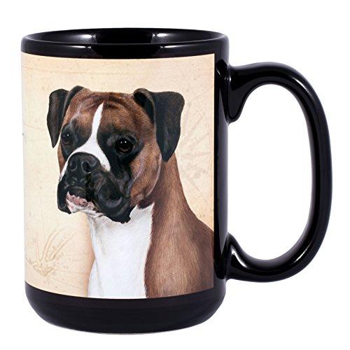 Breed Coffee Mug - Boxer Uncropped Dog Breed Traits Ceramic Stoneware 15 Ounce Mug