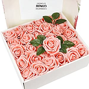 CEWOR 60pcs Artificial Flowers Fake Roses Wedding Bouquet for Wedding Party Baby Shower Home DIY Decorations (Pink) 49
