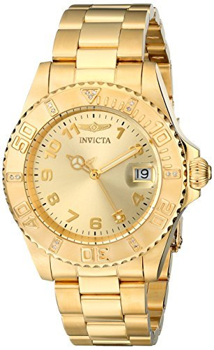 Invicta Women's 15249 Pro Diver 18k Yellow Gold Ion-Plated Stainless Steel Watch - 18k Yellow Gold Diamond Watch