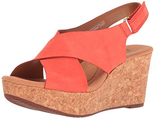 CLARKS Women's Annadel Eirwyn Wedge Sandal, Coral Nubuck, 10 M US