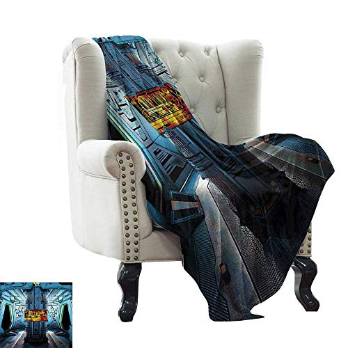 - LsWOW Fleece Blanket Outer Space,Space Ship Station Base Control Room Technology Elements Features Image,Blue Black Orange Reversible Soft Fabric for Couch Sofa Easy Care 60