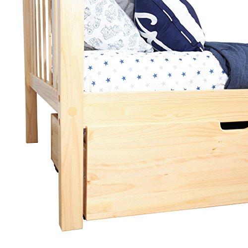 Max & Lily Solid Wood Twin-Size Bed with Under Bed Storage Drawers, Natural by Max & Lily (Image #7)