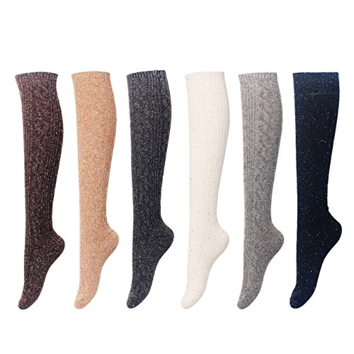 FITEXTREME Womens 3 to 6 Pack Fashion Warm Thick Thermal Cushion Crew Quarter Winter Socks