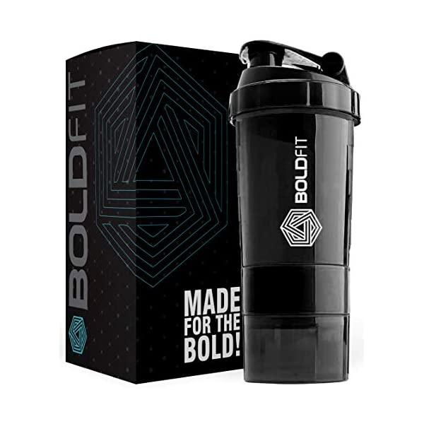 Boldfit Gym Spider Shaker Bottle 500ml with Extra Compartment, 100% Leakproof Guarantee, Ideal for Protein, Preworkout and BCAAs, BPA Free Material … 2