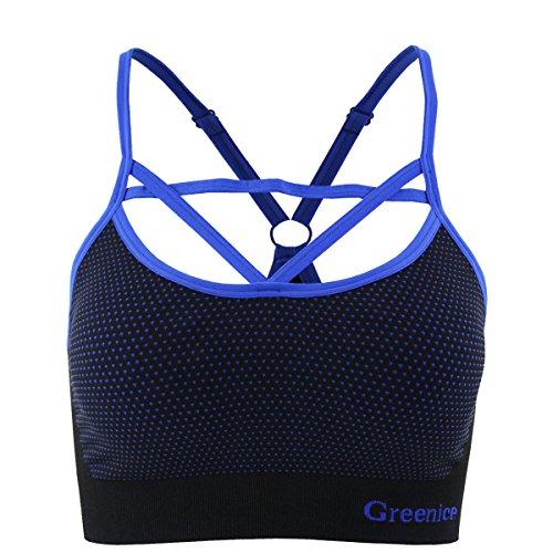 GreeNice Sujetador deportivo de Alto Impacto para mujer con correa ajustable de hombro Azul