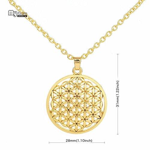 SACRED ART Flower of Life Mandala Necklace Pendant Jewelry Star Tetrahedron Merkaba Kabbalah Sacred Geometry Men Women accessories (Flower of Life (Gold))