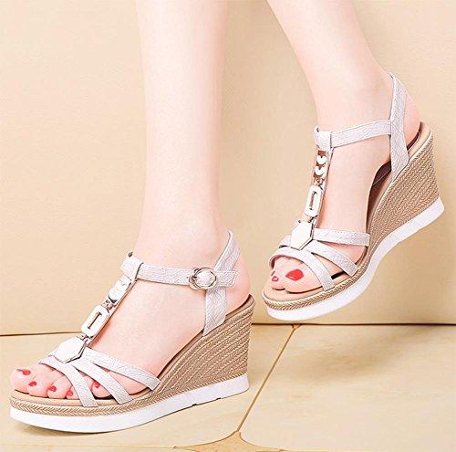 Frau Sommer Sandalen Hang mit offenen Sandalen erhöhten Schuhe der Frauen white