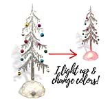 Light Up Acrylic Trees - Set of 2 LED Christmas Trees - Miniature Jingle Bell Ornaments Attached - Christmas Table-Top Display