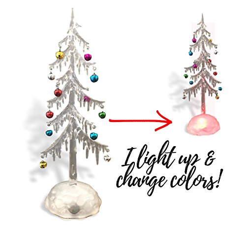 Banberry Designs Light Up Acrylic Trees - Set of 2 Assorted Sizes LED Christmas Trees - Miniature Jingle Bell Ornaments Attached - Christmas Table-Top Display by Banberry Designs (Image #1)