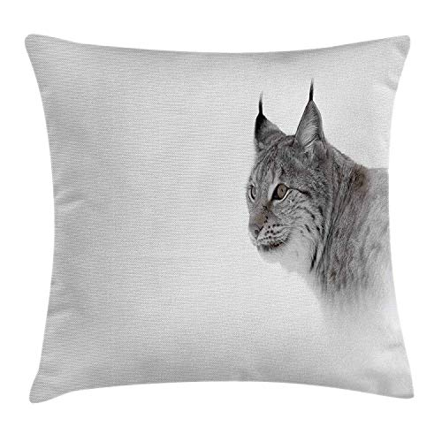 Hunting Decor Throw Pillow Cushion Cover, Lynx in Central Norway Wild Cat North Cold Snowy Mountain Carnivore Predator, Decorative Square Accent Pillow Case, 18 X 18 inches, Grey White ()