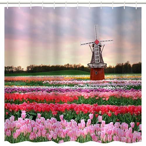BROSHAN Colorful Flower Field Shower Curtain, Garden Tulip Flowers Filed &Windmill Nature Country Scenery Art Print,Waterproof Fabric Bathroom Decor Accessories Set,Red Green Pink,72 x 72 inch