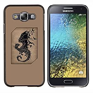 KLONGSHOP // Cubierta de piel con cierre a presión Shell trasero duro de goma Protección Caso - dragón pájaros negros marrones de cuento de hadas - Samsung Galaxy E5 E500 //