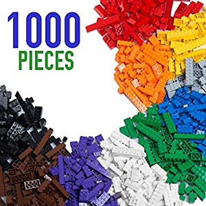 - 514wndMPrYL - 1000 Piece Building Bricks Set- 10 Classic Colors Guaranteed Tight Fit, Compatible with All Major Brands
