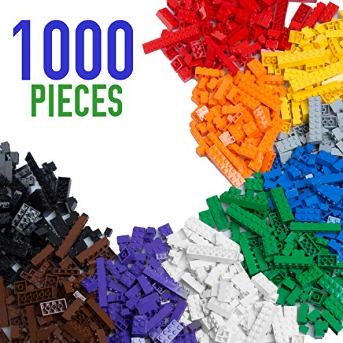 (1000 Piece Building Bricks Set- 10 Classic Colors Guaranteed Tight Fit, Compatible with All Major Brands)