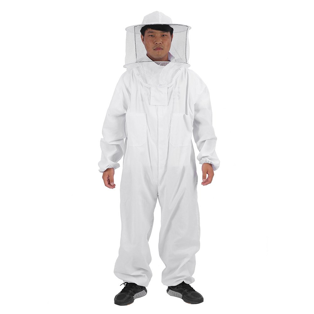 Abbigliamento per Apicoltura Attrezzatura l'ape Panno per Il Corpo Completo con Cappuccio per Velo Protezione Totale per apicoltori Professionisti e Principianti(X-Large)
