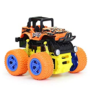 Toy Cars for Kids 1 - 5 Years Old Boys Girls Monster Trucks Push & Go Car Toy Durable Big Wheels 360 Rotating Stunt Toy Vehicle (Orange)