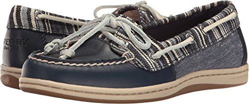 Blue Fish Boat Shoe - Sperry Women's Firefish Denim Stripe Navy 6 M US