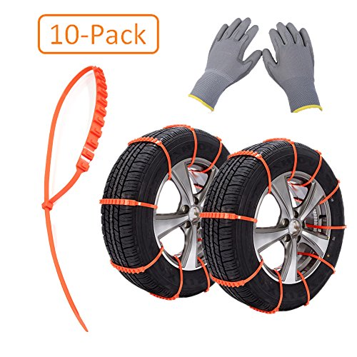 Tire Chains, 10PCS Car Winter Snow Chains, Anti-skid Snow Chains and Work...