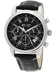SO&CO New York Mens 5059.1 Monticello Quartz Chronograph Date Black Leather Strap Watch