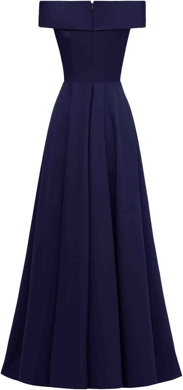 NOBRAND Abendkleid für Damen, eine Schulter lang, elegant, schmal