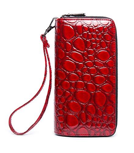 LOVEME Women Red Stone Lines Double Zipper Wallets Hangbag Bank Card Cash Package (RED-EYW28)