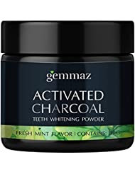 Charcoal Teeth Whitening Powder,From Organic Coconut Shell and Food Grade Formula - All Natural Freshmint Flavor Tooth Whitener 30 g by Gemmaz