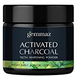 Gemmaz Charcoal Teeth Whitening Powder, Coconut Activated Charcoal Teeth Whitening, Enamel Safe Teeth Whitener for Sensitive Teeth Gums, Fresh Mint Flavor 30g