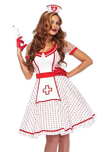 Nurse Costume 2016 (Leg Avenue Women's Nurse Nikki Costume, White/Red, Medium/Large)