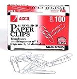 ACCO Non-Skid Paper Clips, Size No.1, Silver, Box of 100 Clips (5050572385)