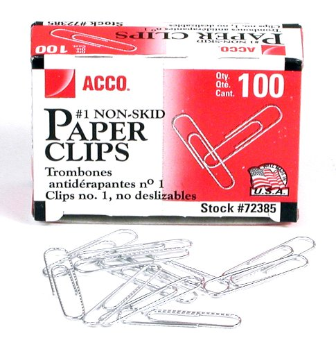 ACCO Brands 72385 Nonskid Economy Paper Clips, Steel Wire, No. 1, Silver, 100/Box, 10 Boxes/Pack (ACC72385) ()