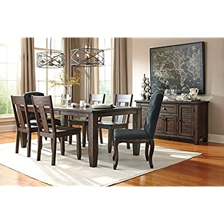 Trudill Casual Wood Dark Brown Color Dining Room Set Rectangle Extension Table 4 Dark Brown Chairs 2 Dark Gray Chairs Server
