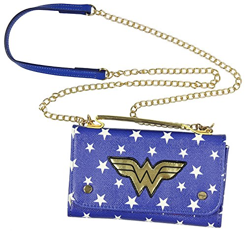 DC Comics Wonder Woman Crossbody Wallet Clutch, Blue/White