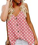 Angerella Women's Summer Polka Dot Print V Neck Strappy Tank Tops Loose Casual Sleeveless Shirts Blouses Pink,2XL