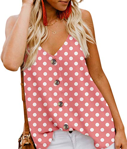 (Angerella Women's Summer Polka Dot Print V Neck Strappy Tank Tops Loose Casual Sleeveless Shirts Blouses Pink,L)