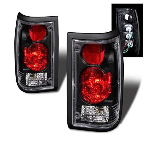 SPPC Black Euro Tail Lights Assembly Set For Mazda B2000 - (Pair) Driver Left and Passenger Right Side Replacement